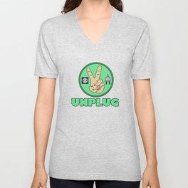 Funny Sarcastic Novelty Unplug Tshirt Design UNPLUG PEACE Unisex V-Neck