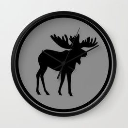 Bull Moose Silhouette - Black on Gray Wall Clock