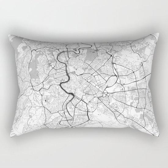 Rome City Map Gray Rectangular Pillow