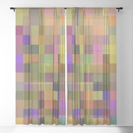 geometric square pixel pattern abstract in yellow green purple Sheer Curtain