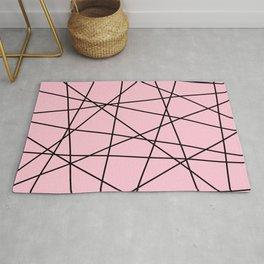Geometric Lines (black/blush pink) Rug