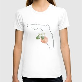 florida // watercolor orange blossom state flower map T-shirt