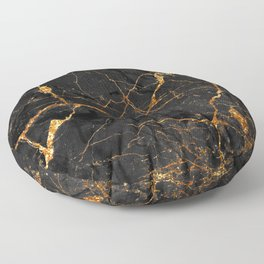 Black Malachite Marble With Gold Veins Floor Pillow