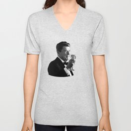 President Reagan Making A Toast Unisex V-Neck
