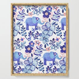 Pale Coral, White and Purple Elephant and Floral Watercolor Pattern Serving Tray