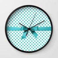polkadot Wall Clocks featuring Blue Tiffany Polkadot by albert Junior