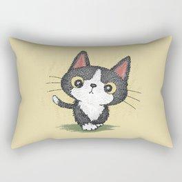 Black kitten walking Rectangular Pillow