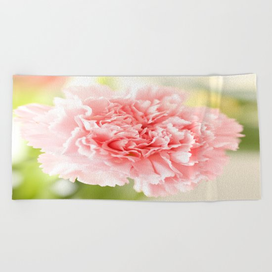 Pink Carnation Admiration  Beach Towel