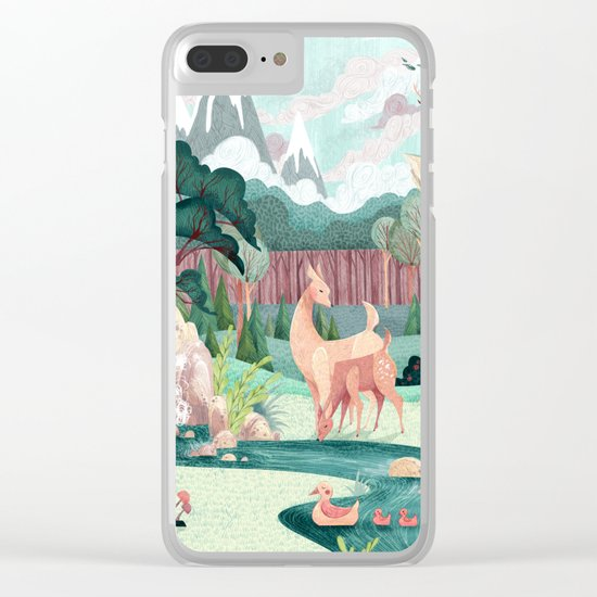 Deer Mother Clear iPhone Case
