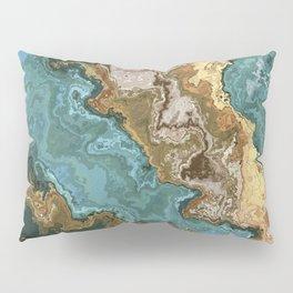 Vibrant Marble Texture no2 - Cobalt Blue and Gold Pillow Sham