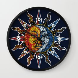 Celestial Mosaic Sun and Moon Wall Clock