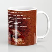 depression Mugs featuring Depression or the Pain - 111 by Lazy Bones Studios