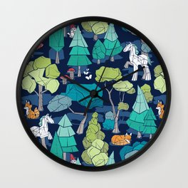 Geometric whimsical wonderland // navy blue background green forest with unicorns foxes gnomes and mushrooms Wall Clock