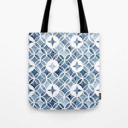Indigo Retro Tile Tote Bag