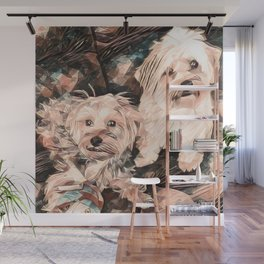 Penny and Copper dogs Art Signed Wall Mural