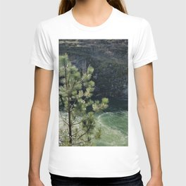 Sunny River Canyon With Churning Water and Pine Tree T-shirt