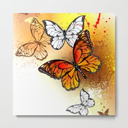 Summer Butterflies Monarchs Metal Print