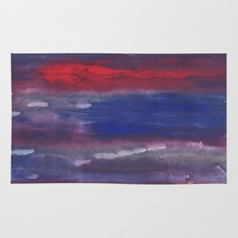 Red Blue nebulous watercolor Rug