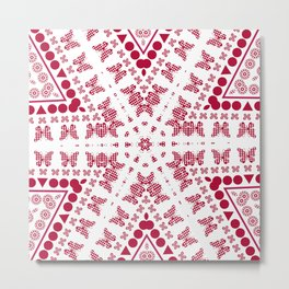 Red white butterfly pattern Metal Print