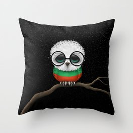 Baby Owl with Glasses and Bulgarian Flag Throw Pillow