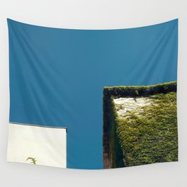 White Square, Green Square, Blue Sky Wall Tapestry