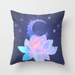 moon lotus flower Throw Pillow