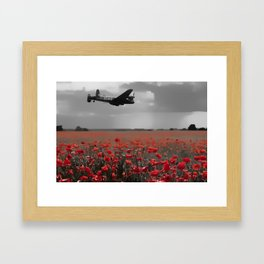 Lancaster Flyover with Red Poppies Framed Art Print