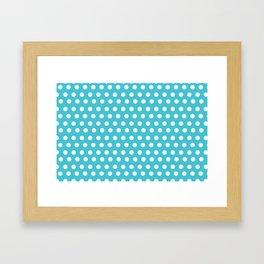 Happy Dot Aqua Framed Art Print