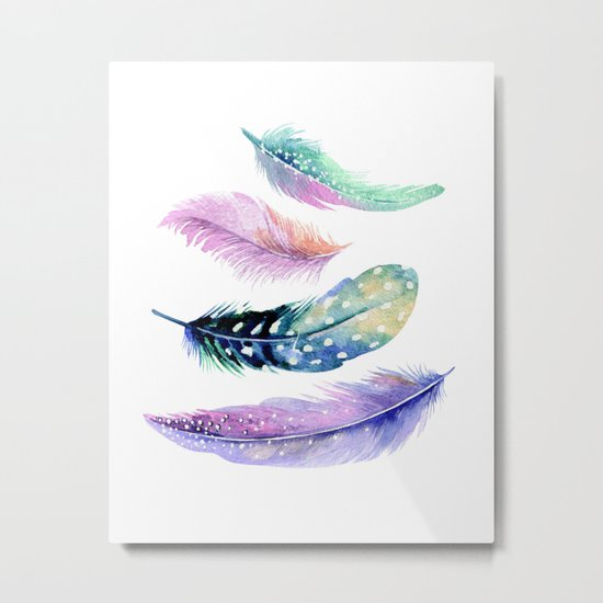 Watercolor Feather Metal Print