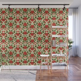 Red Geraniums -  Vintage-Inspired Floral Pattern For Spring Wall Mural