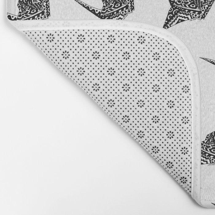 Paper Crane Bird Origami Doodle Pattern Bath Mat