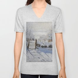 1869-Claude Monet-The Magpie -89 x 130 Unisex V-Neck