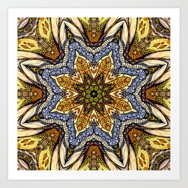 Magic flowers mandala Art Print