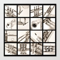 trumpet Canvas Prints featuring trumpet by laika in cosmos