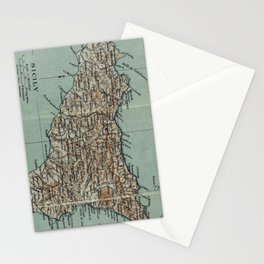 Vintage Map of Sicily Italy (1911) Stationery Cards