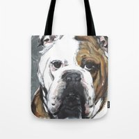 english bulldog Tote Bags featuring English Bulldog  by ali_grace_gal