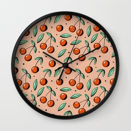 Retro Cherries Wall Clock