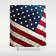 Stars & Stripes - Distressed American Flag Art Shower Curtain