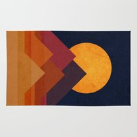 moon Area & Throw Rugs featuring Full moon and pyramid by Picomodi