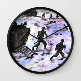 Stepping In Harms Way Wall Clock