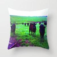 cows Throw Pillows featuring Cows by 13th Moon Social Club