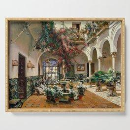 Interior Courtyard Seville Spain by Manuel Garcia Y Rodriguez Serving Tray