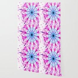 Winter Pink glittered Snowflake Wallpaper