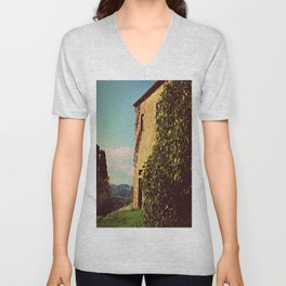 Tuscany Italy Countryside With Villa Unisex V-Neck