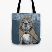 english bulldog Tote Bags featuring English Bulldog in Stonehenge by Barruf
