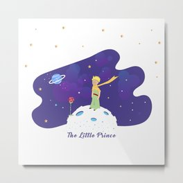 The Little Prince in Space Metal Print