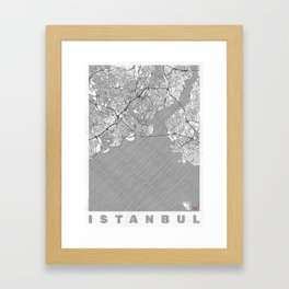 Istanbul Map Line Framed Art Print