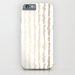 White Gold Sands Vertical Ink Stripes iPhone Case
