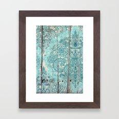 Teal & Aqua Botanical Doodle on Weathered Wood Framed Art Print