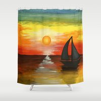 tequila Shower Curtains featuring Tequila Sunset by William Gushue